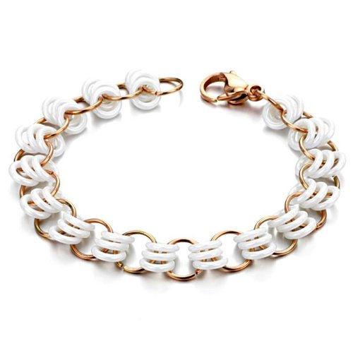 Opk Jewellery Fashion Women's Bracelets White Hollow Rings Ceramic And Gold Plated Stainless Steel Link Chains Wristband 7.87 Inch Length 9mm Width 13g Weight
