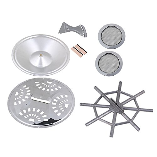 BQLZR Silver Wood Dobro Guitar Parts Set Resonator Cones Soundhole Screens Tailpiece Spider Bridge Saddle Pack of 8 (Spider Resonator Cone compare prices)