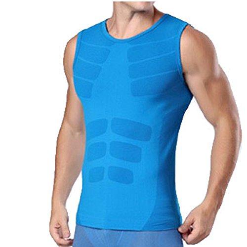 メディカルサポート 男性用機能性肌着 スポーツインナー ノースリーブス 基礎代謝を上げて脂肪燃焼 青 XL