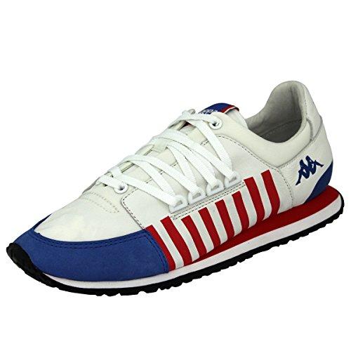 Kappa AUTHENTIC LA84 US ONE Scarpe Sneakers Pelle Bianco Blu Rosso per Unisex
