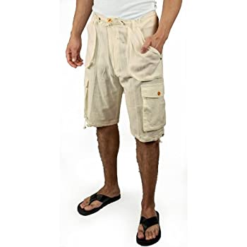 Cotton beach cargo shorts in natural