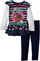 Disney Girls' Doc Mcstuffins 2 Piece Striped All Better Pullover and Pant