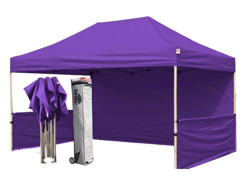 Eurmax Profession 10 X 15 Pop Up Tent Instant Canopy With Sidewalls And Wheeled Bag, Bonus 4Weight Bag|Purple front-819707