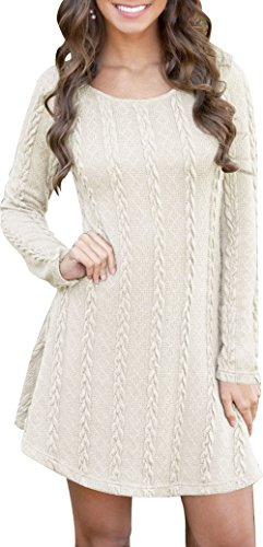 Women Winter Soft Slim Fit Knitted Crew Neck Long Sleeve Sweat Dress Pullover Tunics Sweater White XL
