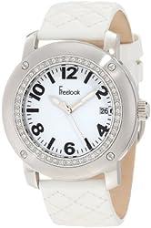 Freelook Women's HA1812-9 White Leather Band Matt White Dial Silver Case Watch