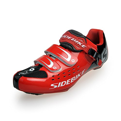 SIDEBIKE SD-001-Scarpe per bici da strada, colore: rosso/nero, taglia 9