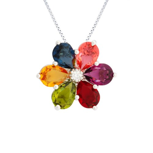 Sterling Silver Cubic Zirconia and Multi-Color Crystal Pendant Necklace, 18