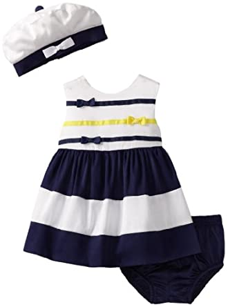 Hartstrings Baby-Girls Newborn Sateen Sleeveless Dress, Hat and Diaper Cover 3 Piece Set, White, 12 Months