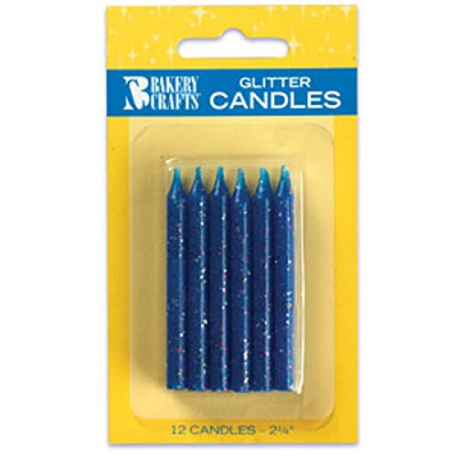 Oasis Supply Glitter Birthday Candles, 2.25-Inch, Blue - 1