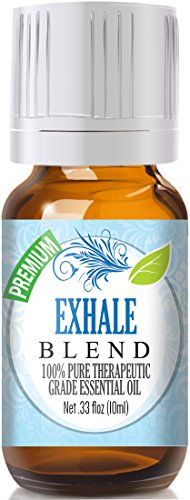 Exhale Blend 100% Pure, Best Therapeutic Grade Essential Oil - 10ml - Comparable to DoTerra's Breathe & Young Living's Raven Blend - Peppermint, Eucalyptus, Lemon, Tea Tree, Ravensara