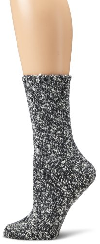 Anne Klein Women's Tweed Boot Sock, Black, One Size