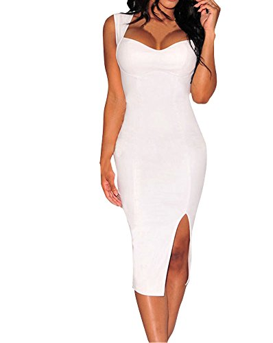 Sexy Womens Black Faux Leather Key-hole Back Padded Low V Neck Midi Dress (M, White)