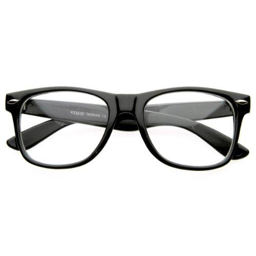 zeroUV - Vintage Inspired Eyewear Original Geek Nerd Clear Lens Horn Rimmed Glasses (Black)
