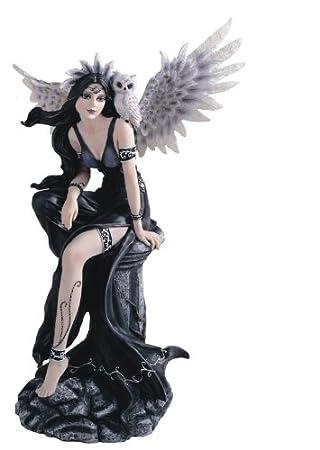 "20"" Inch Gothic Black Fairy with White Owl Statue Figurine Figure Fairies"