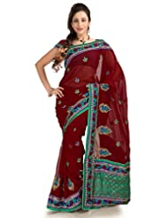 Designersareez Women Chiffon Embroidered Maroon Saree With Unstitched Blouse(1151)
