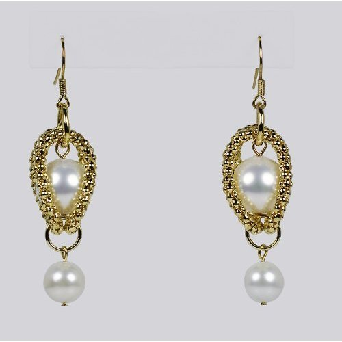 Karen Ko Mesh Pearl Earrings w/ Gold Setting and Shell Pearls (Gold/Shell Pearls)