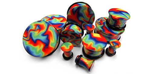 Pair of Hippie Tie Dye Plugs 00 Gauge (00G - 10mm) - Single Flared (Cool Gauges compare prices)