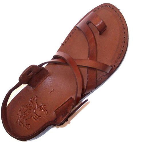 Unisex Adults/Children Genuine Leather Biblical Sandals / Flip flops (Jesus – Yashua) Jesus – Yashua Style I – Holy Land Market Camel Trademark – European 47