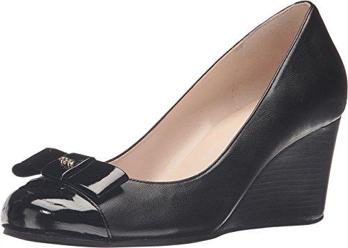 Cole Haan Women's Elsie Bow Wedge 65mm II Black Leather/Black Patent Wedge 9.5 B (M) (Cole Haan Wedge compare prices)