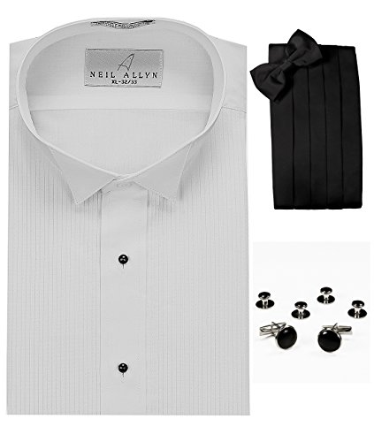 Wing Collar Tuxedo Shirt, Cummerbund, Bow-Tie, Cuff Links & Studs Set