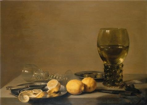 Oil Painting 'Pieter Claesz-Still Life With Two Lemons,a Facon De Venise Glass,Roemer,Knife, Olives On A Table,1629' 16 x 22 inch
