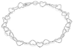 "Tuscany Silver Small Open Heart Link Bracelet 19cm/7.5"""