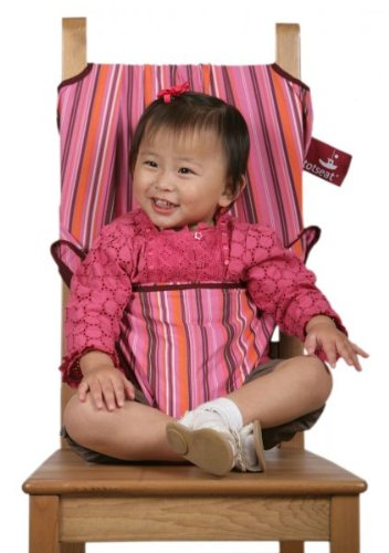 TotSeat Travel Fabric High Chair & Seat (Pink Stripes) (37