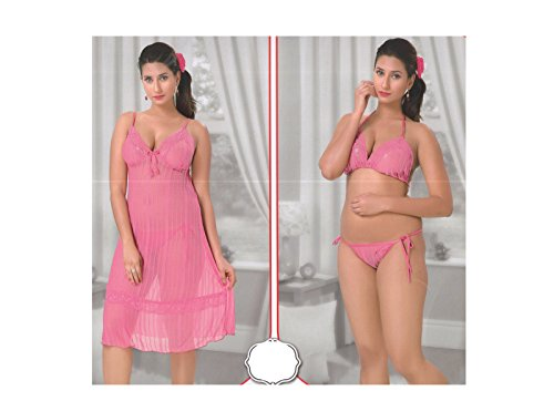 Indiatrendzs Women Baby Pink Stretchable Net Babydoll Short Night Dress With Lingerie 3pc Set