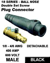 Leviton 18D24-E 18 Series Male Detachable Plug Double Set Screw Complete - Black (Pkg Of 10)