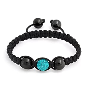 Bling Jewelry Childrens Turquoise Color Shamballa Inspired Bracelet Blue Crystal Hematite 10mm