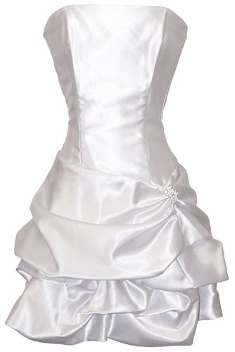 Strapless Satin Bubble Dress Prom Formal Holiday Party Cocktail Gown Bridesmaid, Small, white