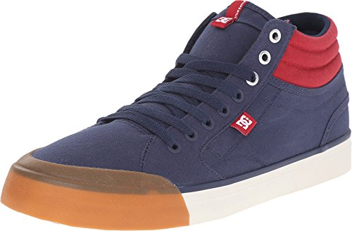 DC Men's Evan Smith HI Skate Shoe, Navy/Red, 11 M US