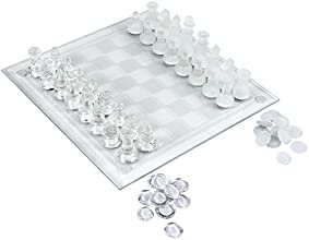 Elegant Glass Chess amp Checker Board Set Clear amp Frosted