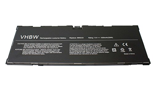 vhbw Li-Polymer Batterie 4300mAh (7.4V) pour Netbook Pad Tablette Dell Venue 11 Pro 5130, T06G comme 9MGCD, XMFY3.