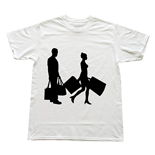 Hoxsin White Men'S Married Life Shopping Geek Roundneck Tshirts Us Size L