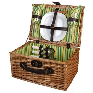 Picnic and Beyond Veranda Collection Willow Picnic Basket for 2 Green