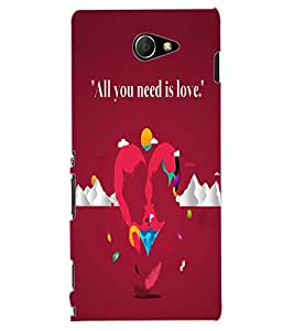 ColourCraft Love Image Design Back Case Cover for SONY XPERIA M2 DUAL D2302