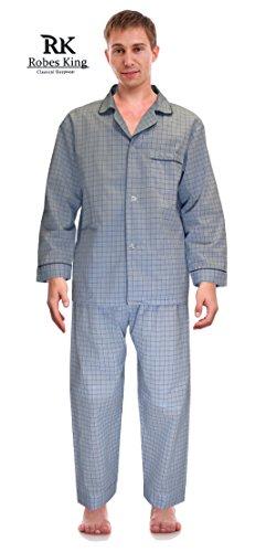 Rk classical sleepwear men 39 s broadcloth woven pajama set for Mens medium tall shirts