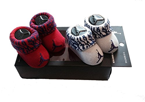 New Nike Jordan Jumpman 23 Baby Booties,, Red Purple Gray, 0-6 Month, 2 Pair.