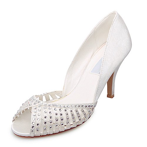 Women's Elegant Satin Upper High Heel Peep-toes With Rhinestone Wedding Bridal Shoes (Size: 6.5 B(M) US/White)