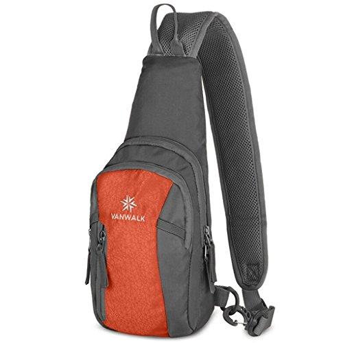 vanwalk Shoulder Backpack Casual Cross Body Bag Outdoor Sling Bag Chest Pack with Adjustable Shoulder Strap for Cycling Hiking Camping Travel and Men Women(orange)