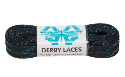 Black 96 Inch Waxed Skate Lace - Derby Laces for Roller Derby, Hockey and Ice Skates, and Boots