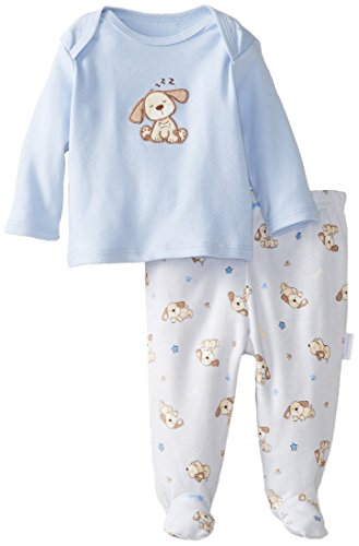 Vitamins Baby Baby-Boys Newborn Puppy 2 Piece Footed Pajama Set, Blue, 9 Months front-800658