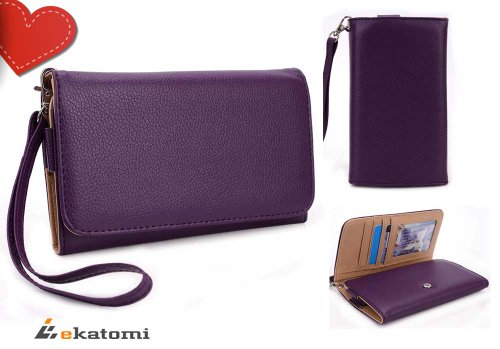 Samsung I9505 Galaxy S4 Universal Mobile Phone Case Wristlet Clutch Women's Wallet – PURPLE. Bonus Ekatomi Screen Cleaner