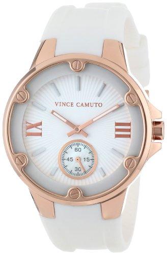 Vince Camuto VC/5078RGWT - Reloj para mujeres, correa de silicona color blanco