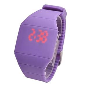 Touch Screen Unisex LED Digital Watch Wristwatch Timepiece with Gum Strap - Purple