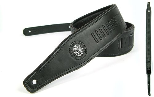 Black Guitar Strap: 'Lozenge' Leather Electric/Acoustic/Electro/Bass (1.37M)