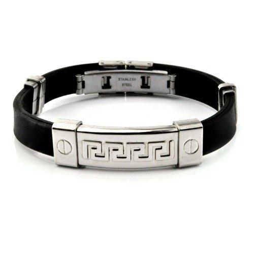 316L Stainless Steel Tribal Maze ID Plate Rubber Bracelet