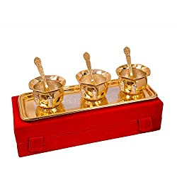 Shreeng Silver and Gold Plated Handi Bowl,Tray With Spoon Set Of 7 Pcs.
