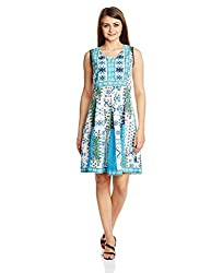 Rain and Rainbow Women's Cotton A-Line Dress (3805-15/10-25_TURQ_Large)